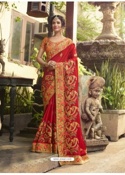Red Poly Silk Embroidered Saree