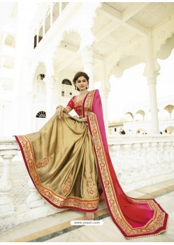Gold Faux Georgette Embroidered Saree