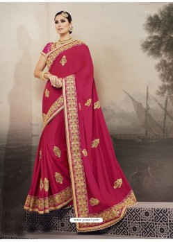 Rani Satin Georgette Embroidered Saree
