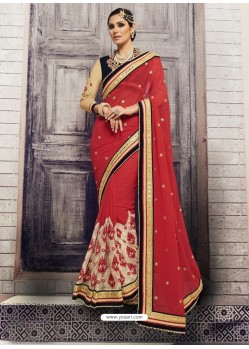 Crimson Georgette Embroidered Saree