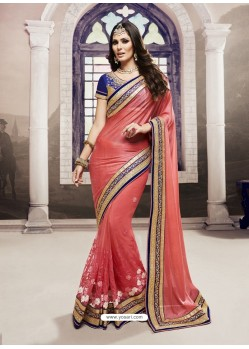 Peach Moss Georgette Embroidered Saree