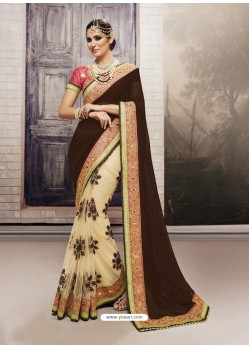 Cream Georgette Embroidered Saree