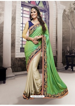 Green Satin Chiffon Embroidered Saree