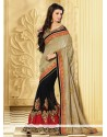 Glowing Golden And Black Net Velvet Designer Saree