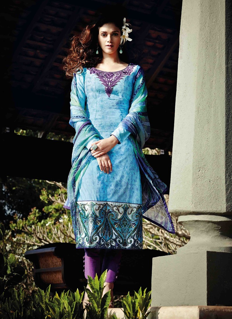 Sky Blue Lawn Cotton Salwar Kameez