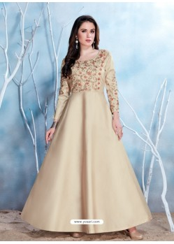 Light Beige Modal Satin Embroidered Gown