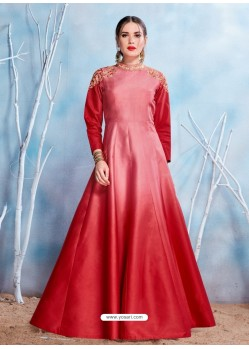 Red Modal Satin Embroidered Gown