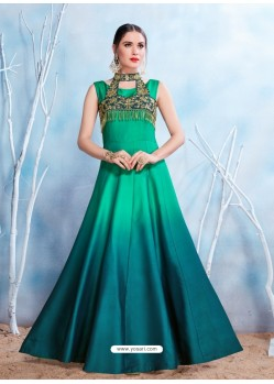 Tealblue Modal Satin Embroidered Gown