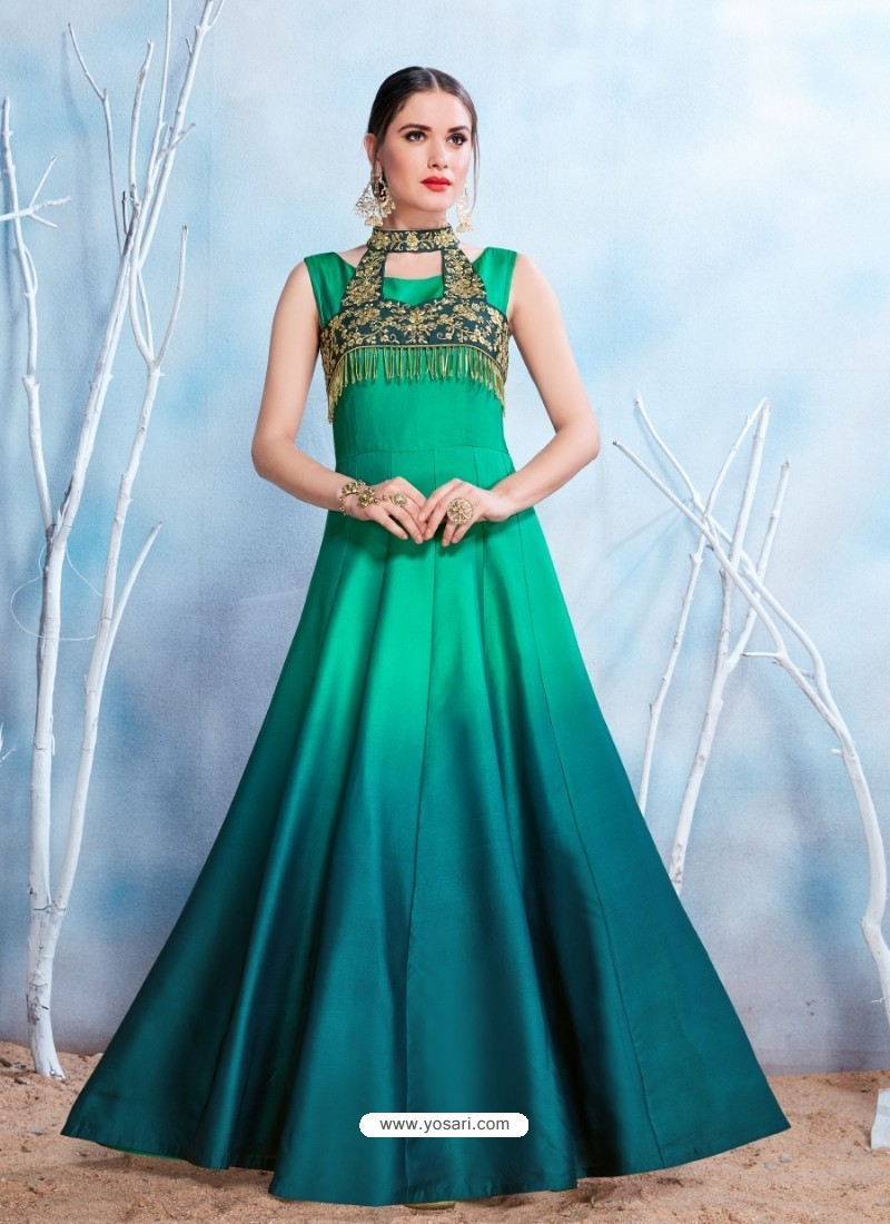 Buy Tealblue Modal Satin Embroidered Gown   Gowns