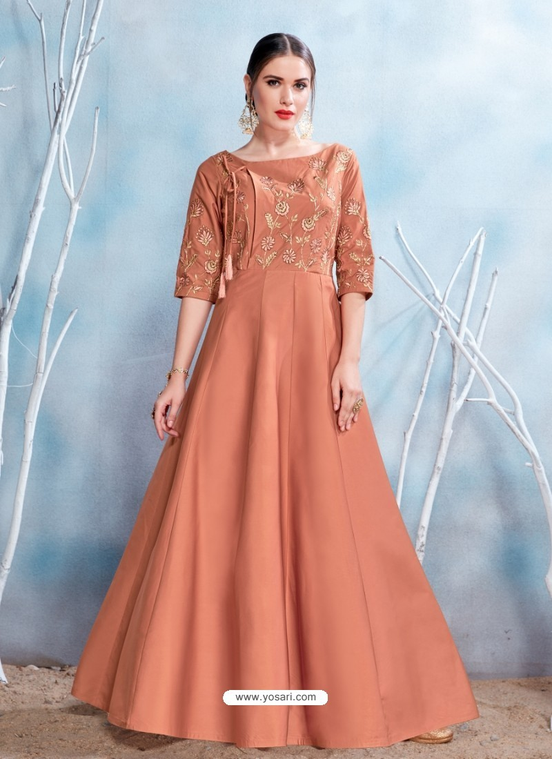 Buy Orange Modal Satin Embroidered Gown | Gowns