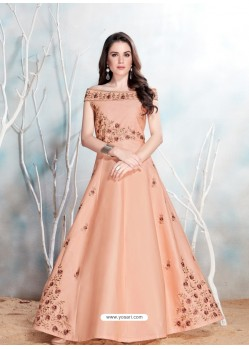 Baby Pink Modal Satin Embroidered Gown