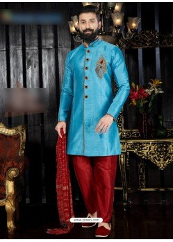 Turquoise Art Dupion Embroidered Sherwani