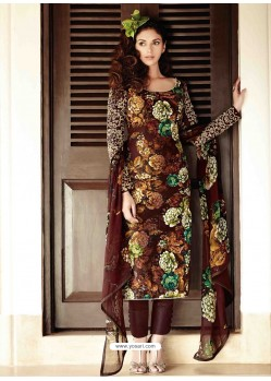 Brown Lawn Cotton Salwar Kameez