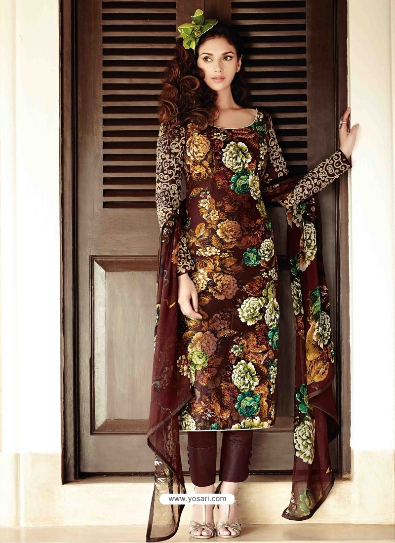 13e81576ef Brown Lawn Cotton Salwar Kameez | Punjabi Suit online