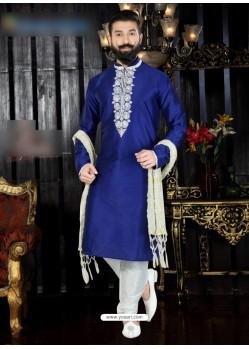 Royal Blue Art Dupion Embroidered Kurta Pajama