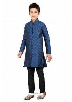 Blue Brocade Kurta Pajama