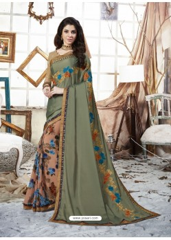 Dull Grey Georgette Casual Saree