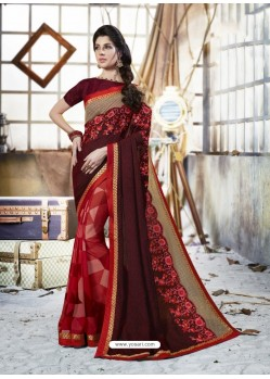 Maroon Georgette Casual Saree