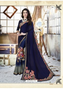 Navy Blue Georgette Casual Saree