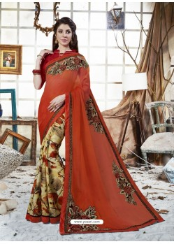Rust Georgette Casual Saree
