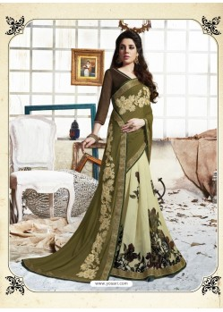 Mehendi Georgette Casual Saree