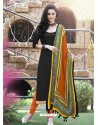 Black Bhagalpuri Silk Churidar Suit