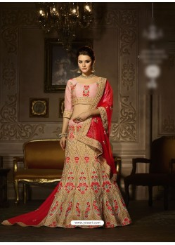Beige Banglori Silk Embroidered Lehenga Choli