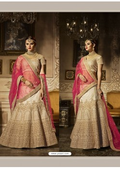 Off White Banglori Silk Embroidered Lehenga Choli