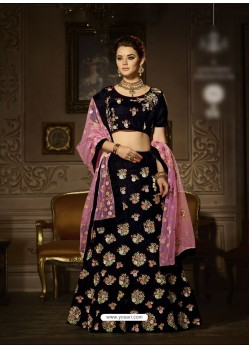 Black Velvet Embroidered Lehenga Choli