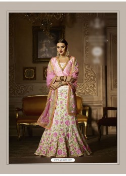 White Banglori Silk Embroidered Lehenga Choli