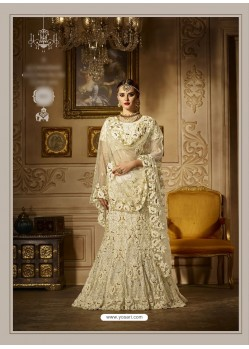 Off White Net And Satin Embroidered Lehenga Choli