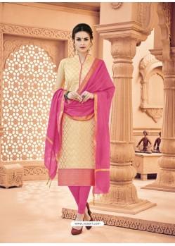 Light Beige Banarasi Silk Woven Suit