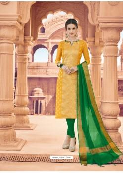 Yellow Banarasi Silk Woven Suit
