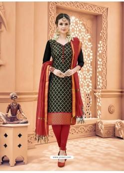 Black Banarasi Silk Woven Suit