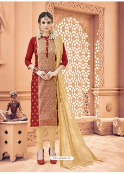 Wine Banarasi Silk Woven Suit