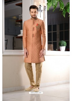Rust Brocade Embroidered Sherwani