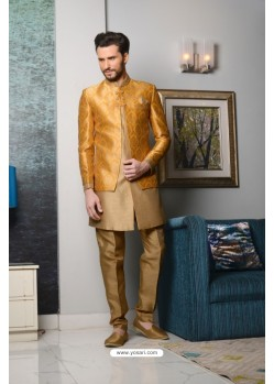Camel Brocade Embroidered Sherwani