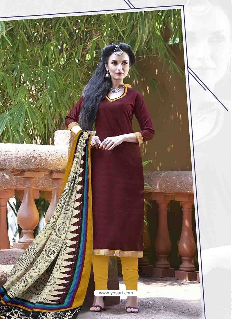 Brown Bhagalpuri Silk Churidar Suit