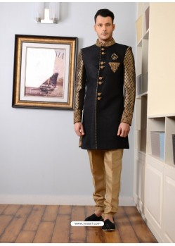 Black Jacquard Embroidered Sherwani