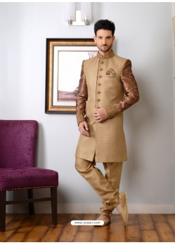 Camel Jacquard Embroidered Sherwani