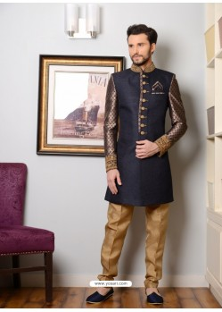 Navy Blue Jacquard Embroidered Sherwani