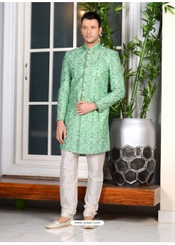 Jade Green Banarasi Silk Embroidered Sherwani