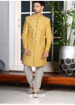 Yellow Banarasi Silk Embroidered Sherwani