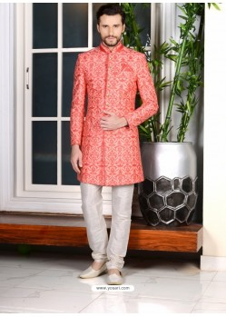 Peach Banarasi Silk Embroidered Sherwani