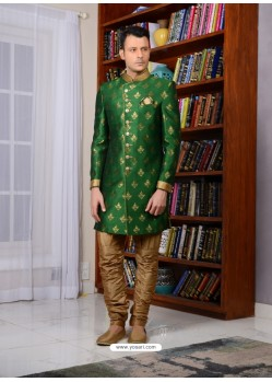 Green Banarasi Silk Embroidered Sherwani