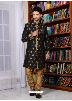 Black Banarasi Silk Embroidered Sherwani