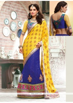 Awesome Blue And Yellow Crepe Jacquard Lehenga Saree