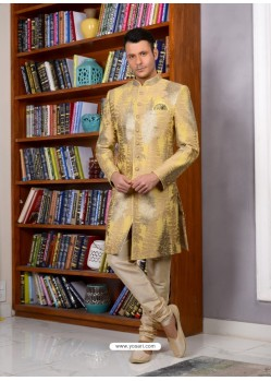 Cream Banarasi Silk Embroidered Sherwani