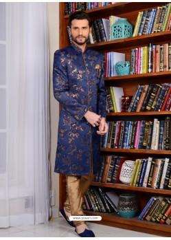 Dark Blue Banarasi Silk Embroidered Sherwani