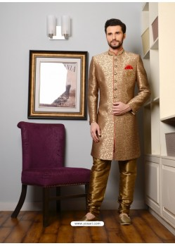 Golden Banarasi Silk Embroidered Sherwani